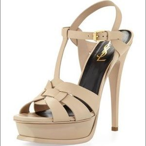 YSL Tribute Leather Platform Sandal Size 34.5